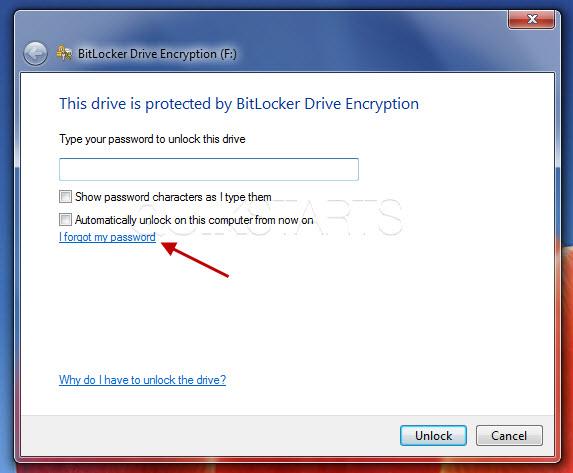 forgot your bitlocker password for flash drive
