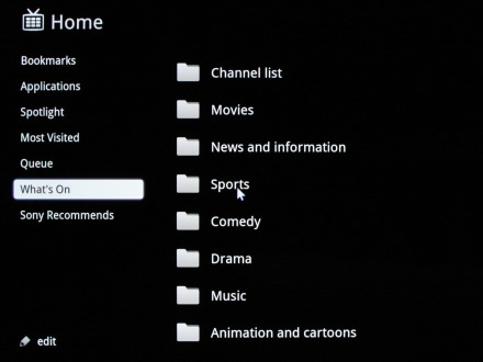 how to display channels on sony google tv