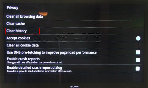 how to clear internet browser history on ps3