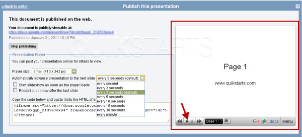 change the slide speed in google docs presentation