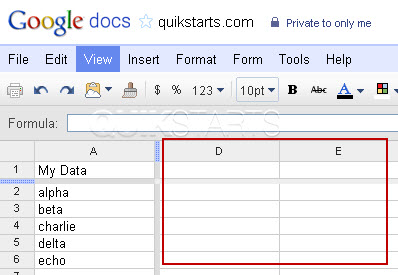 how to get columns in google docs